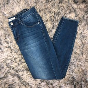 Medium Wash Raw Hem Kensie Skinny Jeans